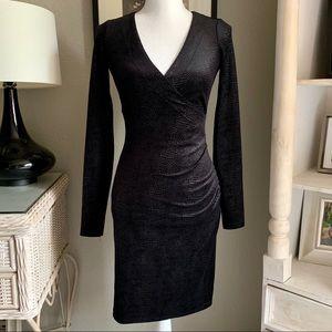 Betsey Johnson Black Velvet Snakeskin Wrap Dress